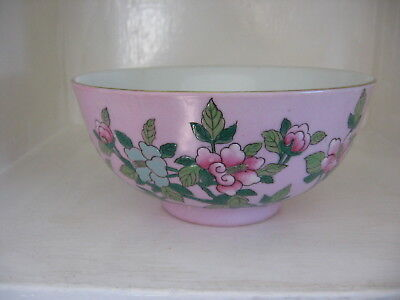 Antique Chinese Porcelain Pink  Bowl  Hand Painted Prunus Branches