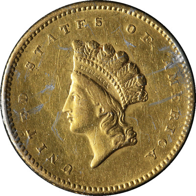 1854 Indian Princess Gold Ty 2 $1 Ex Jewelry VF/XF Details