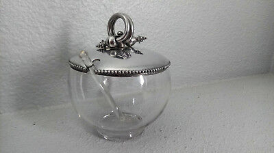 vintage Clear Glass Honey/Jam Jar Ornate Beaded Silver-tone Lid Glass ShellSpoon