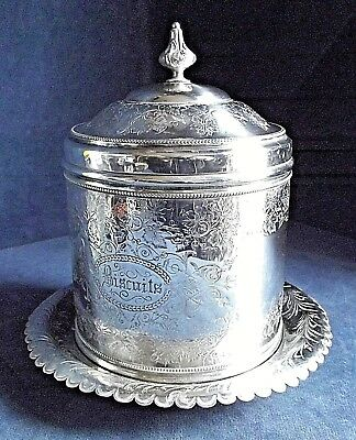 SUPERB Large ~ SILVER Plate ~ Engraved BISCUIT BOX ~ c1900