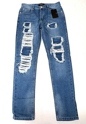 0c7ed53d9a06 BOOHOO MEN'S SKINNY Fit Patch Wash Jeans TW4 Pale Blue Size 32 NWT ...