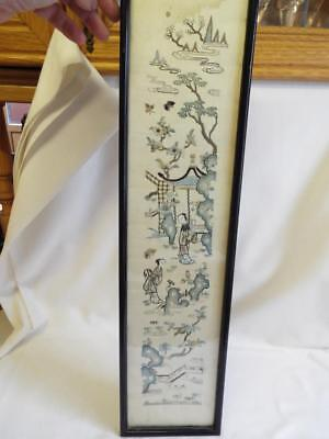 Antique Japanese Chinese framed embroidered sleeve panel picture.