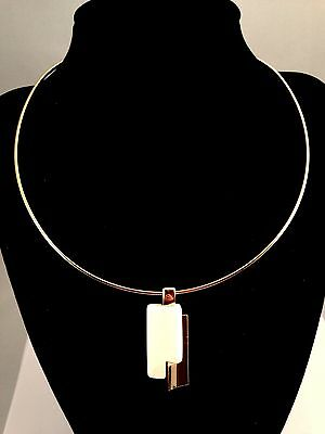 Vintage Crown Trifari Gold-Tone Cream Abstract Lucite Modern Design Pendant