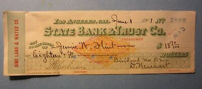 1901 SIMI LAND & WATER Co. - Bank DIVIDEND Check LOS ANGELES CA. - Revenue Stamp