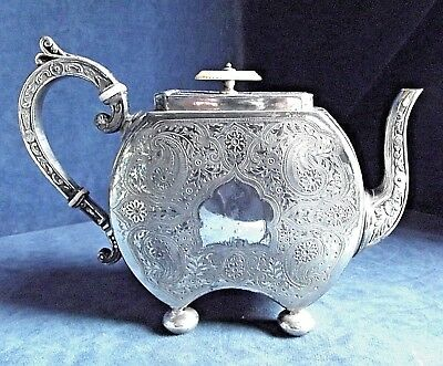 GOOD ~ SILVER Plated ~ PERSIAN Style ~ Engraved TEAPOT ~ c1890 by George Travis