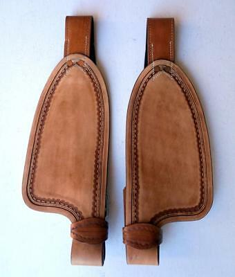"""Med Oil Smooth leather fenders for 10"""" saddle Replacement stirrup Fenders ONLY"""