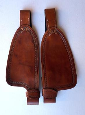 """Dark Tan Smooth leather fenders for 9"""" saddle Replacement stirrup Fenders ONLY"""