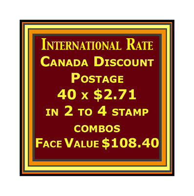 CANADA DISCOUNT MINT POSTAGE 2 to 4 Stamp Combo, 40 x $2.71, Face Value $108.40