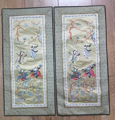 2 Vintage Chinese Dun Huang Beijing Silk Embroidery Panel Wall Hanging Pictures