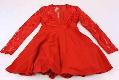 Missguided Womens Lace Long Sleeve Plunge Skater Dress Tw4