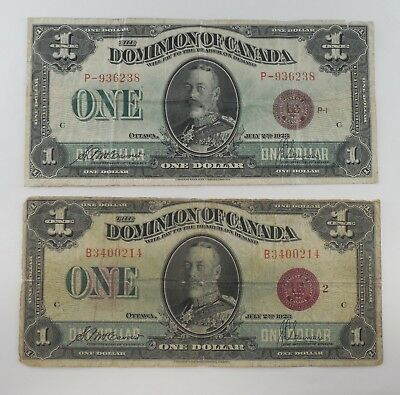 1923 - Canada - Large Notes - $1 - With Red Seals - Lot of 2 - #535L