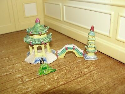 Dollhouse Miniature 4 Piece Ceramic Oriental Scene