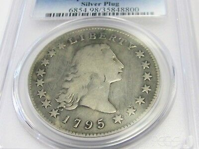 1795 Flowing Hair Early Silver Dollar Silver Plug Variety PCGS Fine Details