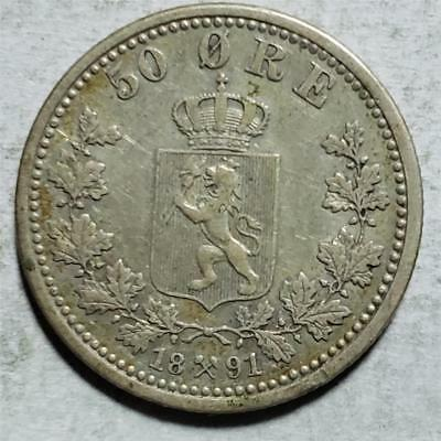Norway, 50 Ore, 1891, Very Fine+, .0964 Ounce Silver
