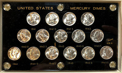 1941-45 P,D,S Short Set of Mercury Dimes All GEM BU (15 Coins) -99c Strt NO RSRV