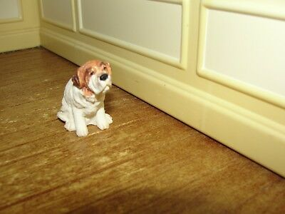 Dollhouse Miniature Hand-Painted Ceramic Dog