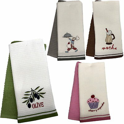 2 Pack 100% Cotton Embroidered Hand Dish Drying Kitchen Cloth Waffle Tea Towels