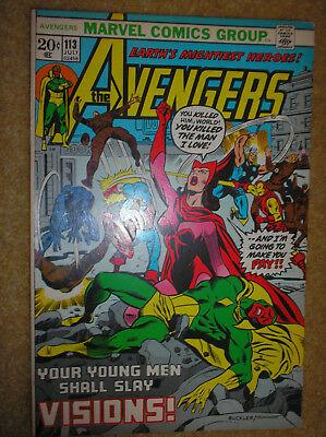 AVENGERS # 113 VISION BLACK PANTHER BROWN 20c 1973 BRONZE AGE MARVEL COMIC BOOK