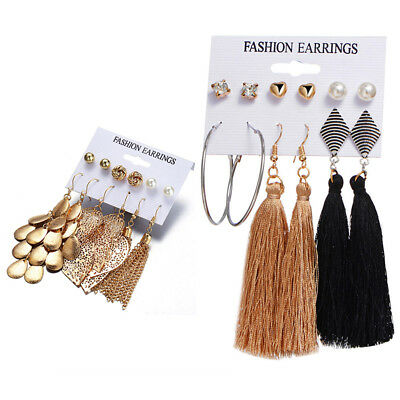 6Pairs Bohemian Long Tassel Pendant Drop Crystal Ear Stud Earrings Jewelry Set