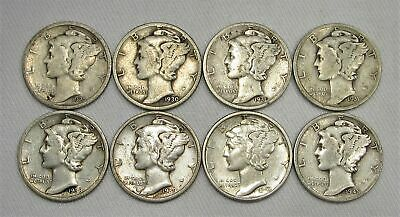 Lot of 8 Vintage US Mercury Silver Dime Coins 1925-1945 AG115