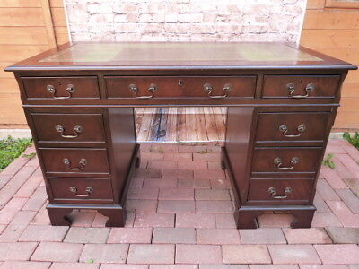 Lovely Vintage Green Leather Top Twin Pedestal Knee Hole Desk With Key.