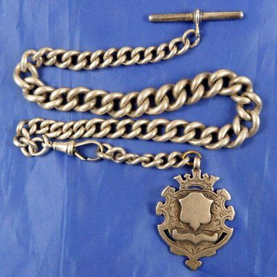 Stunning Antique Silver Chunky Watch Albert Chain & Fob Medal 1887 Jc