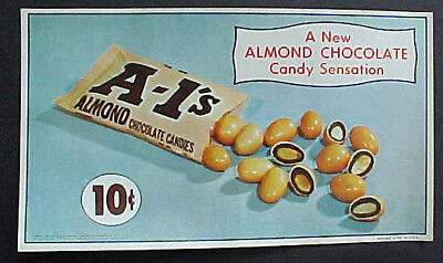 Old 5 Cent Green & Yellow Hershey Chocolate Almond Candy Advertising Sign Stick