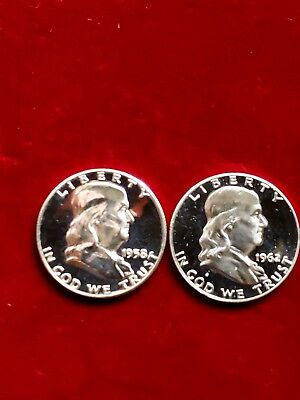 (1) 1958 Silver Proof & (1)1962 Cameo Silver Proof Franklin Half Dollars