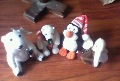 Lot of 4 COCA-COLA Plush- 2 Polar Bears w tags, Xmas Penguin, 'Can Can' w tag