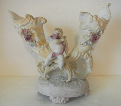 ANTIQUE Victorian German Bisque Porcelain CHERUB Double VASE DRESDEN SITZENDORF