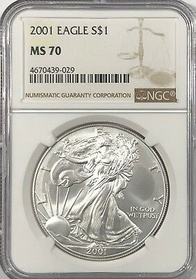 2001 Ngc Ms70 Silver American Eagle Mint State 1 Oz .999 Fine Bullion