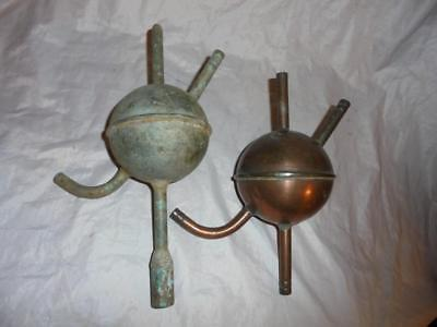 2 Antique Copper Laboratory Retorts Distilling Type Cylindrical Vessel 4 Outlets