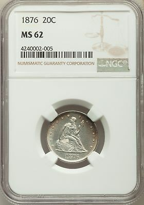 1876 US Silver 20C Seated Liberty Twenty Cent Piece - NGC MS62