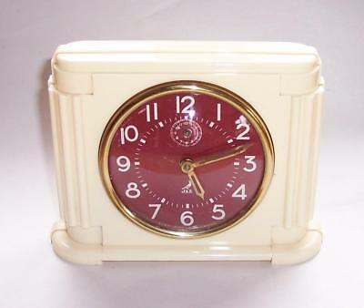 Vintage ART DECO French JAZ ALARM Mantel CLOCK Cream Body Red Face - Working