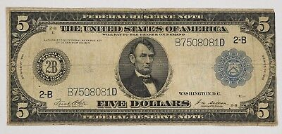 1914 $5 FEDERAL RESERVE NOTE cURRENCY NEW YORK CIRCULATED VG / F (081D)