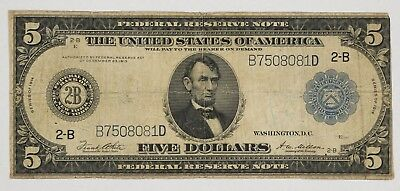 1914 Series Federal Reserve Note $5 New York, Ny 2-B Circulated Vg / F (081D)