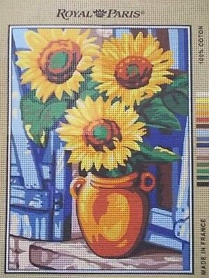 """Tapestry Canvas """" Vase of Sunflowers""""  New by Royal Paris"""