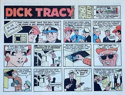 Dick Tracy by Chester Gould - large half-page color Sunday comic - July 21, 1974