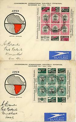 South Africa 1936 Pair of JIPEX Philatelic Exhibition Covers
