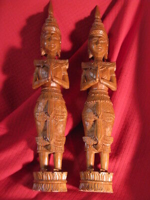 """Thailand Siam Wood Carved Female Temple Protector Figures Statues Pair 21"""" TEAK"""