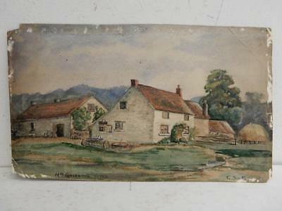 REALLY old PAINTING farm landscape signed