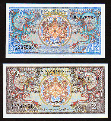 2 notes 1980's issue BHUTAN  1 & 2 ngultrum  UNC.