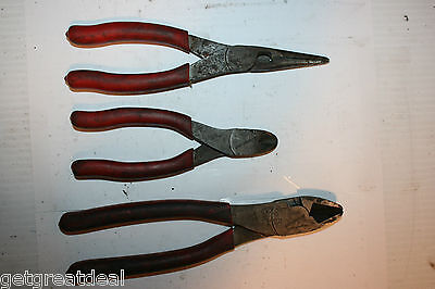 SNAP-ON TOOLS Diagonal CUTTERS LONG NOSE PLIERS RED GRIP SET 3pc