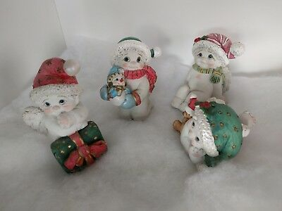 Lot of 4 angels Christmas ready Dreamsicles Figurines cast art 2002 wrapper gift