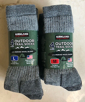 f8bd7ac33 4 Pairs KIRKLAND Signature Hiking Trail Men Socks Merino Wool Made in USA M  or L