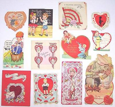 Lot of 12 Used Vintage Valentines Valentine Cards, Mid Century, 40's and 50's