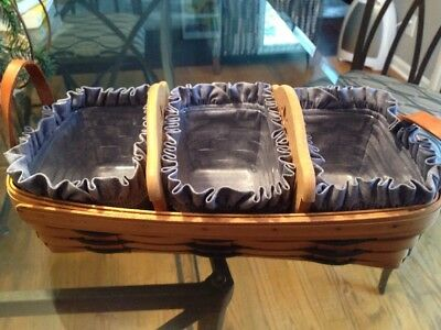 LONGABERGER 14 X 8 Basket 2 WOODEN DIVIDERS 3 PLASTIC INSERTS Fabric Liners 99