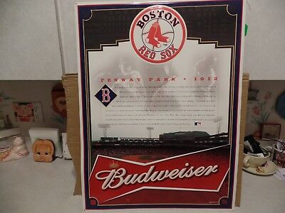 Boston Redsox And Fenway Park Budweiser History Tin Sign 21X28
