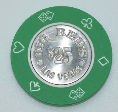 Big Red's $25 Casino Chip Las Vegas Nevada Die4Suits Coin Inlay 1981