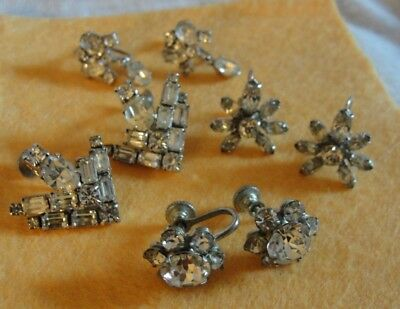 Vintage Antique Lot Of 4 Pairs Of Earrings Screw On Backs Prong Set Rhinestones